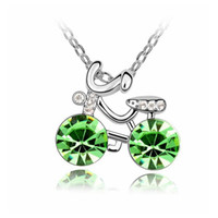 Wholesale Cycling Pendant - Personalized Cycling Crystal Pendants Necklace Fashion Jewelry Crystal from Swarovski Female Gift