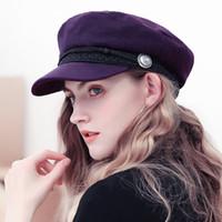 boina elegante al por mayor-Moda Negro boina de lana caliente del sombrero ocasional de las mujeres Streetwear violinista Cap Mujer elegante otoño invierno 2018 de Baker Boy sombrero Señoras