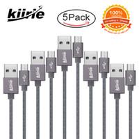cable gris al por mayor-Cables micro USB Cables de carga duraderos Kiirie 5Pack 1x0.5m 3x1m 1x1.5m 6000+ Doblar Cable USB de alta velocidad de vida útil para Android Samsung Gris