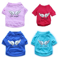 Wholesale round t shirt male resale online - Small Dog Printing Wing Angel Design T Shirt Cotton Comfortable Solid Color Puppy Cloth Multi Size Choose Pet Apparel cyb4 Z