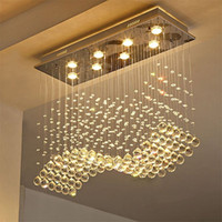 retangular sala de jantar lustres venda por atacado-Lustre de cristal contemporâneo lustre gota de chuva cristal teto luminária projeto onda de montagem embutida para sala de jantar