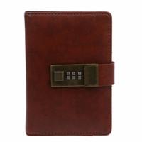 journal relié en cuir vintage achat en gros de-Journal de journal de codebook rétro vintage A7 avec mot de passe pour une utilisation scolaire