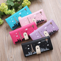 Wholesale tower cards credit - Brand New Women Zipper Wallets Credit Card Holders High Quality PU Leather Cartoon Tower Printing Purses Clutch Bags