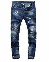 Wholesale United Paints - 2018 europe and the united states fashion new trend washed hand-painted low-waisted feet quality nightclub men cats must print jeans