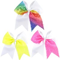 Wholesale pink cheerleading bows for sale - Group buy 7 inch Rhinestone Cheer Bow Hair Bow Rainbow Alligator Clip Sequin Grosgrain Ribbon Children Girls Cheerleading Hair Accessories