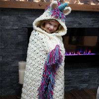 Wholesale cloaks for children for sale - Group buy INS children boys girls tassel Knit Blankets cartoon unicorn Hooded Cape Warm winter Shawl cloak for Baby Christmas Sleeping Swaddle C5410
