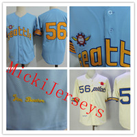 Wholesale 1969 Baseball - Mens Jim Bouton Seattle Pilots baseball jersey reproduction 1969 blue Jim Bouton throwback Jersey