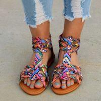 ingrosso scarpa boho-Scarpe basse delle donne della Boemia Gladiatore estivo Sandalo romano Colorful Boho Sandalias Mujer Colorful Beach femminile piatto Plus Size 34-43