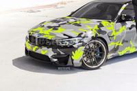 ingrosso neve auto camo-Snow Yellow nero Grigio Camouflage Vinile avvolgente per veicolo auto avvolgente Graphic Camo che copre rivestimento bolla d'aria libera 1.52x30m 5x98ft