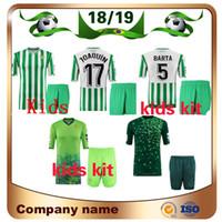 jerseys de fútbol niños al por mayor-2019 Real Betis Kitds kit Soccer Jersey 18/19 Casa # 17 JOAQUIN Camiseta de fútbol BOUDEBOUZ BARTA TELLO INUI JAVI GARCIA niños Uniforme de fútbol