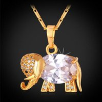 Wholesale Western Necklaces - Western Design Cute Elephant Necklace Trendy 18K Real Gold Platinum Plated AAA Zirconia Pendant Necklace Lucky Jewelry P562