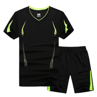 Wholesale summer track suits men for sale - Group buy 2017 New Summer Men Set Sporting Suit Short Sleeve T Shirt Shorts Two Piece Set Sweatsuit Quick Drying Track Suit for Men M xl