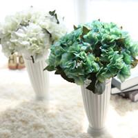 ingrosso fiori artificiali blu ortensia-35cm 13.7inch bianco blu seta fiori ortensia casa decorazione del partito alta artificiale ortensia fiori matrimonio