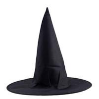 ingrosso cappello nero adulto-1pc Adulto Donna Uomo Nero Cappello Strega per Halloween Costume Accessorio Cappellino da Donna Cappello Magico navidad halloween decorazione