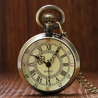 Wholesale pocket mens watches - Antique Bronze Roman Numerals Dial Pocket Watch Necklace Pendant Mens Gift P96