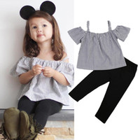 Wholesale Off Shoulder Shirts Wholesale - Kid Baby Girl Off Shoulder Tops T-Shirt Striped Print + Black Pants 2 Pcs Outfits Kid Casual Clothes Girls Summer Boutique Costume