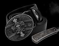 ingrosso cintura nascosta-Vendita calda Moda cool eagle testa carta da gioco croce romanzo 10 stile cintura fibbie cinture e autodifesa nascosta Outdoor coltelli sportivi