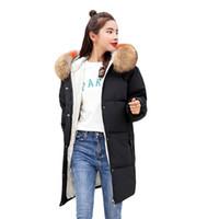 Wholesale womens warm slimming parka for sale - Group buy 2018 New Winter Coat Womens Winter Parka Coats Fur Collar Warm Jacket Thick Long Padded Slim Down Coat Female Winbreak