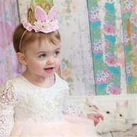 Wholesale animal bunny for sale - New Fashion Baby lace flowers Headbands Girls Rabbit ears hairbands Cute Bunny Crown kids Hair Accessories birthday party Hairband KHA283