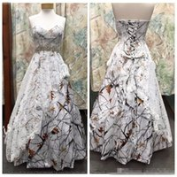 Wholesale natural waistline wedding dress - .Custom Online Sweetheart Satin Camo Wedding Dress Lace Overlay Snowfall Camouflage Formal Lace Up Back Bridal Gowns Crystal Waistline