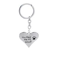 pata de perro de metal de impresión al por mayor-12pcs / lot venden al por mayor la joyería del encanto del perro que usted me tenía en Woof Paw Print Heart Colgante llaveros para el amor de las mascotas