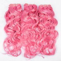 Wholesale wet wavy human hair extensions for sale - Group buy Pretty Color Pink Brazilian Wet Wavy Human Hair Bundles Water Wave Pure Color Hair Weft Extension g