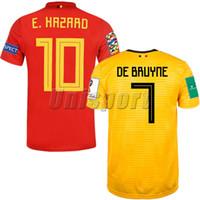 ingrosso belgium jersey di calcio-Maglia da calcio 2018 Belgio Home Away Maglia da calcio per uomo Hazard De Bruyne Futbol Camisa Belgique Maglia da calcio Camisetas Kit Maillot
