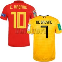 c08bd958c World Cup 2018 Belgium Home Away Men's Soccer Jerseys Hazard De Bruyne  Futbol Camisa Belgique Football Camisetas Shirt Kit Maillot