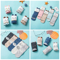 Wholesale girls toddler knee high resale online - 5pairs Korea D Animal Knee High socks kids Winter Warm Cartoon ear Long Sock toddler Cotton soft girl home Floor Socks FFA844