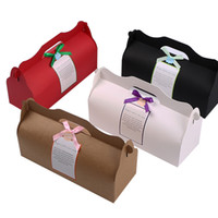 Wholesale muffin packing resale online - Kraft Card Paper DIY Party Muffin Cake Box With Handle Cupcakes Holder Packing