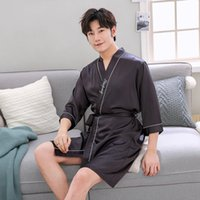 e6a06b95ac satin night gowns robes Australia - Solid Color Men Robe Summer Sleepwear  Rayon Night Gown Nightwear