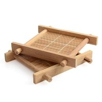 ingrosso tappetini da tavolino in bambù-New Handmade Piazza Bamboo Mat Mat Kung Fu Accessori per il tè Tabella Tovagliette Sottobicchiere Caffè Tazze Bevande Pastiglie Cucina Mug Stuoie