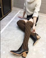 gelbe oberschenkel hohe socken großhandel-Neue 2018 Frauen FF Marke Luxus Designer Knie Mode Stiefel Triple Yellow Womens Oberschenkel Hohe Socke Boot Freizeitschuhe Mit Box