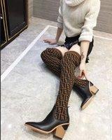 martin mulheres botas amarelas venda por atacado-Nova 2018 Mulheres FF Marca Designer De Luxo Na Altura Do Joelho Moda Botas Triplo Amarelo Mulheres Coxa Alta Meia Bota Sapatos Casuais Com Caixa