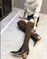 sarı martin botları toptan satış-Yeni 2018 Kadınlar FF Marka Lüks Tasarımcı Diz Moda Çizmeler Üçlü Sarı Womens Uyluk Yüksek Çorap Çizme Rahat ayakkabı Kutusu Ile