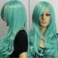 ingrosso parrucca riccia riccia lunga blu-SPEDIZIONE GRATUITA +++ Onda naturale Lungo Aqua Blue Ricci / Ondulati Cosplay wom Kanekalon Costum Hair Wig