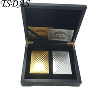 золотые игральные карты оптовых-2 Paris of Golden & Silver Mosaic 24k Gold Playing Cards With Wooden Box and Certificates, Poker Cards Gold Hot Sale