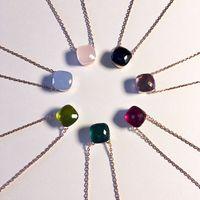 steinsüßigkeit großhandel-Hot Jewelry Edelstein Candy Kristall Stein Halskette Solitaire Anhänger Halskette Tourist Beach Halskette Kupfer Versilbert Gold Rose Tricolor