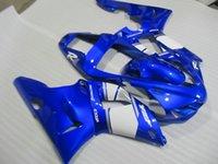 kit de carenado 98 yzf r1 al por mayor-Kit de carenado de 7 regalos para YAMAHA YZF R1 1998 1999 carenados blancos azules set YZF R1 98 99 QF52