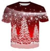 camisas do natal t mais o tamanho venda por atacado-Nova Moda Mens / Womans Feliz Dourado Natal Cervo Hipster T Unisex 3D Impressão Casual T-Shirt Tops Plus Size GLQ0120