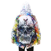 gabardina beige para hombre al por mayor-Otoño / primavera moda gabardina hombres cráneo mecánico rompevientos impresión 3D con capucha para hombre abrigo trench abrigo hombre