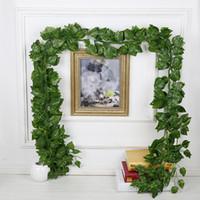 ingrosso piante di plastica edera-Decorazione di cerimonia nuziale 240 cm Artificiale Edera Foglia Ghirlanda Piante di plastica verde lungo Vine Falso Fogliame fiore per la decorazione domestica 12 pz / lotto