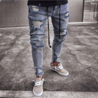 Wholesale wear jeans - High Street Jeans For Men Cool Wear Clothes Ripped Grey Long Pencil Pants Trousers Male Slim Pants