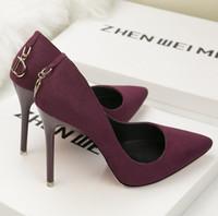 ayakkabı düğmeleri toptan satış-Avrupa ve Amerikan tarzı bayanlar yüksek topuklu moda basit yüksek topuklu süet sığ ağız sivri D-düğme seksi iş kadın ayakkab ...