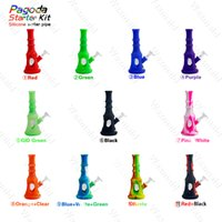 Wholesale pagoda glass - Glass Pipes Silicone Water Pipe Waxmaid Pagoda Portable silicone and glass water bong oil rig assorted colors with flower bong WHOLESALE