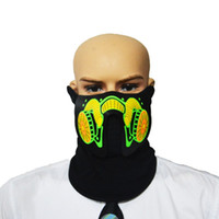 Wholesale terror mask face for sale - Mask LED Luminous Flashing Face Mask Party Sound Control Halloween Clothing Terror Helmet Fire Festival Party Masks