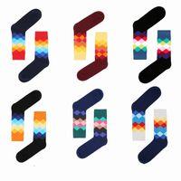 temas de arte al por mayor-Alta rodilla Unisex Happy Socks Diamond Gradient Color Calcetín deportivo para el tema de la moda Moda de estilo británico Medias Nueva llegada 3 22yj Z