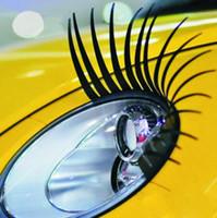 kirpik farları arabalar toptan satış-Büyüleyici Siyah Yanlış Eyelashes 1 Çift Araba Styling 3D Oto Sticker Araba Çıkartmaları ve Çıkartmaları Göz Kirpik Sticker Far Dekorasyon
