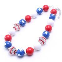 cuentas de estrella roja al por mayor-El más nuevo azul marino Star Chunky Kid Collar American Navy + Color rojo Bubblegum Bead Chunky Necklace Joyería de los niños para niñas pequeñas
