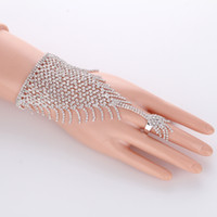 Wholesale slave hand bracelet - Slave Silver Hand Crystal Chain Ring Bridal Bracelet Bangle Rhinestone Hand Decoration Wedding Cuff Attached Ring Set Gold